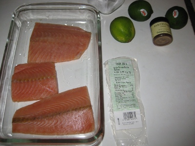ingredients for ancho-lime salmon