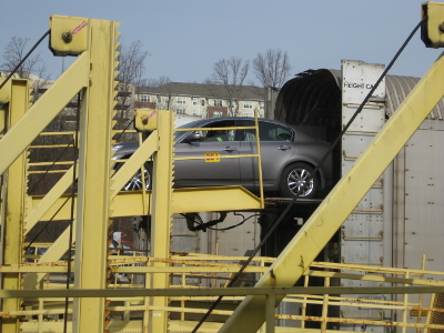 car being unloaded from Auto Train